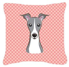 Checkerboard Pink Italian Greyhound Canvas Fabric Decorative Pillow BB1236PW1414