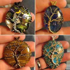 4 more hot off the presses! All are available. Pm for info. #pendy #pendant #pendantsofig #handmade #wrapping #pendant #wirewrap #pendantsofig #handmade #jewelry #necklace #wirewrap #wire #cookscustomartwork #forsale #available #gold #silver #boho #weave #wearableart #jewelryartist #jewelryart #treeoflife #tree #treependant