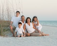 beach portrait family group