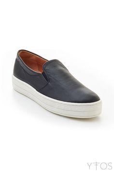 'Warwick' Black Leather Slip-On Sneakers