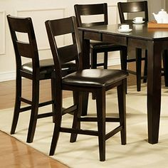Counter Height Chairs 2 Pack Of Weston Collection Features Vinyl  Upholstered Seat, Espresso Finish