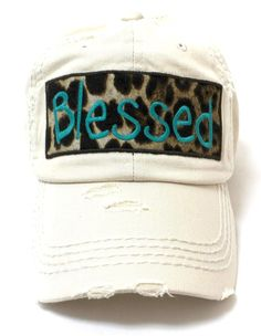 CAPS  N VINTAGE Stone Ivory Blessed Leopard Patch Embroidery Hat Hat  Embroidery 3e660f143917