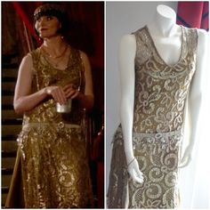 Miss Fisher's Murder Mysteries - Phryne goes undercover, from Murder Most Scandalous (season 2, episode 1), on the left as worn by Essie Davis, amazing what difference lighting makes, on the right as displayed at Costume Display held at Old Government House Parramatta