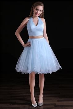 Graceful Tulle & Satin Halter Neckline Short Length Two-piece A-line Homecoming Dress The long prom dresses are fully lined, 4 bones in the bodice, chest Open Back Prom Dresses, Prom Dresses For Sale, Homecoming Dresses, Short Dresses, Evening Dresses, Bridesmaid Dresses, Wedding Dresses, Backless Cocktail Dress, Types Of Skirts