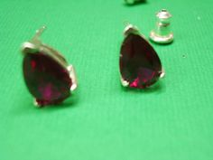 Check out these lovely pear ruby & sterling silver post earrings in my Etsy shop - Art Jewelry by Pat.