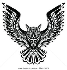 Flying owl black silhouette with a pattern on the body. Hand drawing ...