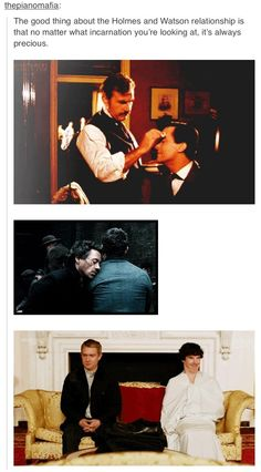 Holmes and Watson<<Though I prefer the BBC Sherlock. Sherlock Holmes John Watson, Sherlock Fandom, Sherlock John, Sherlock Holmes Funny, Martin Freeman, Benedict Cumberbatch, Alex Kingston, David Tennant Doctor Who, Lily James