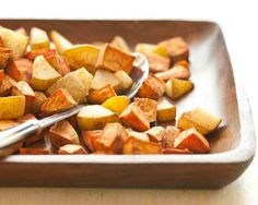 NGREDIENTS NGREDIENTS  2 pounds sweet potatoes, peeled and cut into 1-inch cubes 1/4 cup sherry vinegar 1/2 teaspoon ground cinnamon 1/4 teaspoon ground ginger 1/4 teaspoon ground nutmeg 1/8 teaspoon ground cloves 2 pears, such as Bosc or d'Anjou, cored and cut into 1-inch chunks 400degrees - 30 mins w/sweet potatoes, then add the pears for another 20 mins