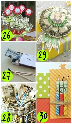 65 Ways to Give Money as a Gift- SUPER fun and creative money gifts Creative Money Gifts, Cool Gifts, Diy Gifts, Gift Money, Money Gifting, Money Lei, Holiday Gifts, Christmas Gifts, Christmas Tree