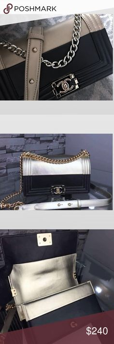 Metallic bag Extremely beautiful RARE!!! special limited edition C.C. very hard to find, Chanel boy bag. Metallic champagne. Le boy. Chanel purse. Chanel flap purse. Black Chanel. Calfskin bag. Lambskin purse. Quilted bag. Champagne tone chain. glossy lacquer  hardware. Auth Unconfirmed. If ur heart desires True Auth- Please do not buy xoxox Admire Bags Crossbody Bags