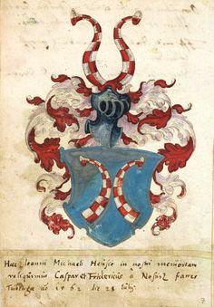 «Stammbuch von Joh. Mich. und Joh. Carl Heuß», Straßburg, [um 1560] [Badische Landesbibliothek, BLB Karlsruhe 2978] -- Familienwappen Heuß (f°7r)