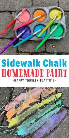 Homemade Sidewalk Chalk, Sidewalk Chalk Paint, Homemade Paint, Outdoor Activities For Toddlers, Summer Activities For Kids, Preschool Activities, Magic For Kids, Kits For Kids, Kids Obstacle Course