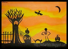 this is a great silhouette lesson, using permanent markers (a favorite!) and liquid watercolor