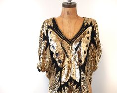 Gold Sequined Butterfly Blouse 1970. $40.00, via Etsy.