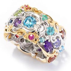 "116-140- Gems en Vogue Multi-Gemstone ""Carnaval"" Eternity Band Ring"
