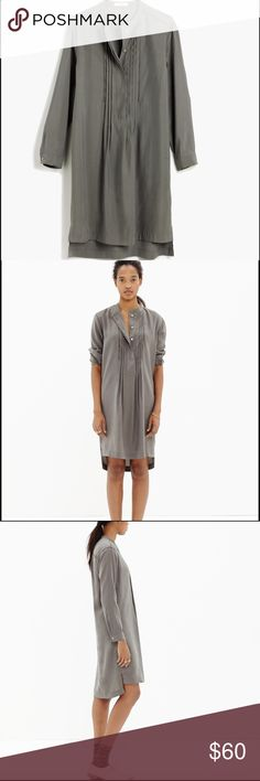 Madewell Shirtdress - Sage/Taupe Awesome Shirtdress with collarless half Henley placket, pleated tux style front, side slits, long sleeves with button cuffs. Great drape! Tencel. No trades. Madewell Dresses