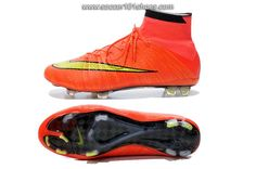 Nike Men's Mercurial Superfly FG Hi Top Football Boot Soccer Cleats Orange  Red Yellow $ 77.00