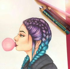 This difujo was inspired by the galaxy hair I have already done it and it has be. This difujo was inspired by the galaxy hair I have already done it and it has been very well - Today Pin . Pretty Drawings, Cool Art Drawings, Pencil Art Drawings, Amazing Drawings, Art Drawings Sketches, Beautiful Drawings, Amazing Art, Drawings Of Girls, Drawing Ideas