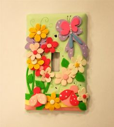 Butterfly and Lady Bug Polymer Clay Light Switch by claygi on Etsy