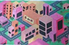 Voor deze tekening was het de opdracht om een stad in perspectief te tekenen. Ik ben redelijk tevreden, maar ik had alleen de kleuren wat anders moeten doen.