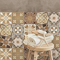 Made in Italy 12 Pieces 15x15 cm PS00049 Adh/ésive d/écorative /à Carreaux pour Salle de Bains et Cuisine Stickers carrelage Stickers Design
