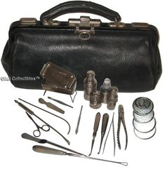 antique medical instruments  | Antique British Surgeon's Medical Bag With 17 Instruments. - click to ...