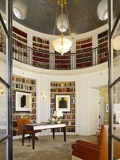 I'm putting this library on my wish list! This is the 2-story library in the Penthouse Suite of the Fairmont San Francisco. There's even a secret passageway behind one of the top bookcases that guests can explore. I'm. in. love.