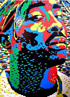 Tupac in lego blocks. This reminds me of both Mondrian and Lichenstein. Art Pop, Different Kinds Of Art, Lego Creations, Legos, Lego Lego, Cool Art, Art Projects, Sculptures, Cool Stuff