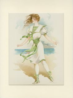 Bathing Suit Costume Girl Beach Print Ocean Maud Stumm Chromolithograph Gray Litho Co from Victorian Rose Prints on Ruby Lane Nautical Wall Art, Beach Wall Art, Nautical Theme, Bathing Costumes, Girl Costumes, Litho Print, Edwardian Era, Victorian Ladies, Victorian Art