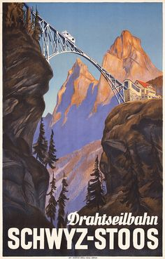 Beautiful Original 1930s Swiss Mountain Travel Poster