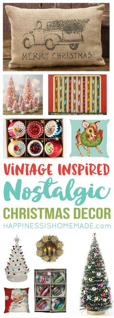 These Vintage Inspired Christmas Decorations are full of nostalgic charm! Modern reproductions are a great way to get that vintage Christmas look for less! Reminds me of my childhood and Grandma's house at the holidays!