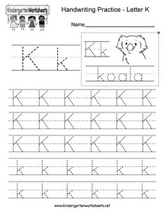 "This is a letter K tracing worksheet. Children can trace uppercase and lowercase letters and the word ""koala."" You can download, print, or use it online. English Worksheets For Kindergarten, Kindergarten Worksheets, Free Printable Alphabet Worksheets, Handwriting Practice Worksheets, Letter K, Uppercase And Lowercase Letters, Learning To Write, Diagram, Classroom"