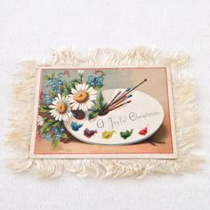 1882 Frank Vernon, NY Victorian Silk Fringed Dbl Sided Christmas Card Artist 115