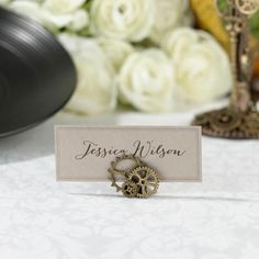 Add the perfect accent piece to your steampunk wedding party theme via the Steampunk Stationery Place Card Holder. Add to wedding party reception tables adorned with imaginative steampunk vintage themed card holders.