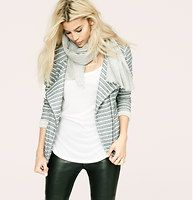 "Lou & Grey Specklestripe Moto Jacket - Crew neck. Long sleeves. Asymmetrical zip front. 24"" long at front, 21"" long at back.  €79.82."