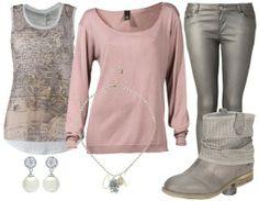 altrosa und metallic jeans - Freizeitoutfit - stylefruits.de