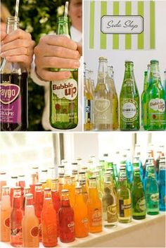 """8 different ideas for """"bar""""  Soda bar, drink bar, nacho bar, smore bar, candy bar, dessert bar. etc. -- this could be a cool thing to do with soda or floats for an alcohol free """"cocktail hour""""   Would love to do this with some Jones soda"""