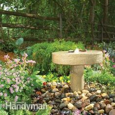 How to Build a Garden Fountain...Modeled after an old millstone, this little fountain is the perfect size for a patio or small backyard. Constructed from concrete and common building material, you can construct it in a weekend.