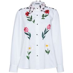 Gem     Meriggio Little Flowers Shirt (385 AUD) ❤ liked on Polyvore featuring tops, white, sequin top, white embroidered top, shirt tops, flower top and embroidered long sleeve shirts