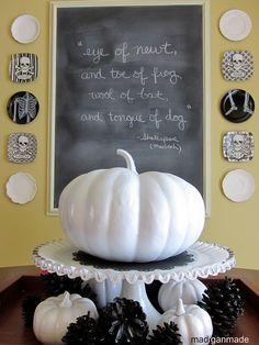 {white pumpkins, black pinecones, easy and cute!} Halloween