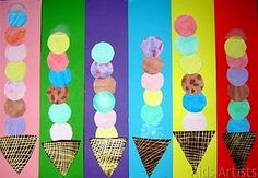Kids Artists: I scream for ice cream (I'm a little obsessed with food imagery- I blame Wayne Thiebaud) Kindergarten Art, Preschool Math, Math Activities, Patterning Kindergarten, Math 2, Church Activities, Ice Cream Art, Ice Cream Theme, Artists For Kids