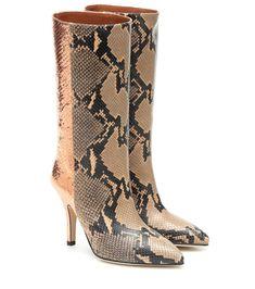 Paris Texas Metallic Snake-effect Leather Boots High Leather Boots, Leather Sneakers, Calf Leather, Leather Sandals, Mid Calf Boots, Knee High Boots, Metallic Leather, Black Leather, Paris Texas