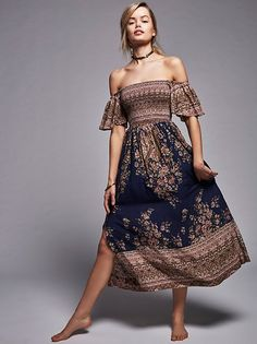 Louise Border Print Midi Dress at Free People Clothing Boutique