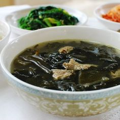 "This popular Korean soup, myukguk, is made with edible seaweed and also known as the ""birthday soup""."