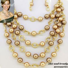 CLASSIC GOLD & TAN PEARL Chunky Necklace Set*CHIC AND TRENDY ACCESSORIES