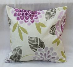 Pillow, violet flower, green, cotton cover di BiancospinoPillowsCo su Etsy