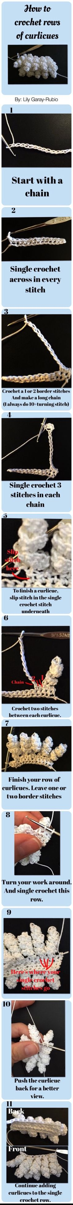 Step-by-step picture tutorial | how to chrochet rows of curlicues| click this pin for more tutorials LG-R