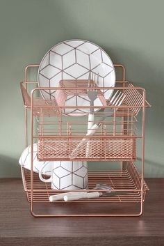 Buy 2 Tier Dish Drainer from the Next UK online shop Kitchen Dishes, Kitchen Items, Home Decor Kitchen, Home Kitchens, Rose Gold Kitchen, Copper Kitchen, Kitchen Dish Drainers, Dish Racks, Dining Room Furniture