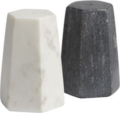 stone's throw.  Shake up the table with a little sophistication.  Honed smooth in a geometric hexagon shape, salt and pepper shakers are small but substantial in white or grey Banswara marble. Grey Selwara MarbleRubber stopperWipe cleanMade in India.