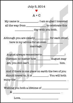 Wedding Guest Book Alternative Wedding Mad Libs by WeddingsByJamie Inexpensive Wedding Venues, Budget Wedding, Wedding Ideas, Wedding Inspiration, Wedding Mad Libs, Our Wedding, Wedding Vows, Garden Wedding, Dream Wedding